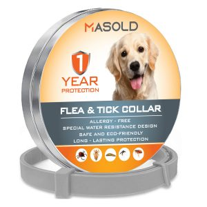 MASOLD Dog Flea and Tick Control Collar – 12 Months Flea and Tick Control for Dogs – Natural, Herbal, Non-Toxic Dog Flea Treatment – Waterproof Protection and Adjustable Best Flea Collar for Dogs.