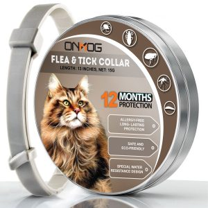 ONMOG Cats Flea and Tick Collar – 12-Month Flea Treatment Cat Collar – Hypoallergenic, Adjustable & Waterproof Tick Prevention – Natural Essential Oil Extracts