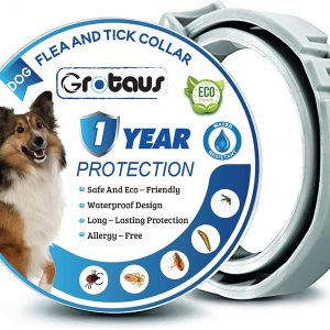 GROTAUS Dog Flea & Tick Collar – 12 Months Protection – 25 inches – Fits All Dog Sizes – Durable & Waterproof.