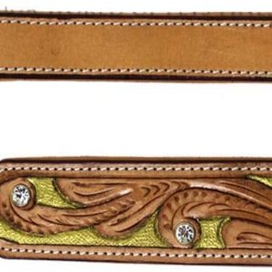 MICHUR Goldeneye Dog Collar, Leather Collar, Dog Collar Leather Beige Caramel Brown Gold with Punches and Color Laying with Rhinestones