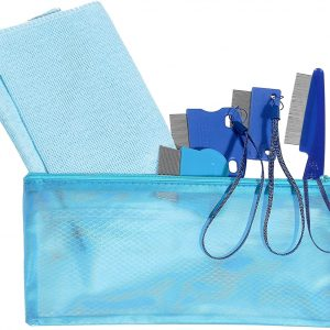Laicol Set of 4 Tear Stain Remover Combs for Small and Large Dogs, Fine Metal Teeth with Wrist Straps, Complete with Pouch and 2 Washcloths